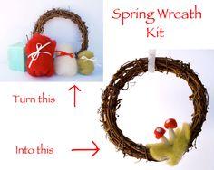 Spring Wreath Kit Needle Felting tutoria red toadstool l wool felt diy do it yourself waldorf craft handmade supplies woodland Easter. $24.00, via Etsy.