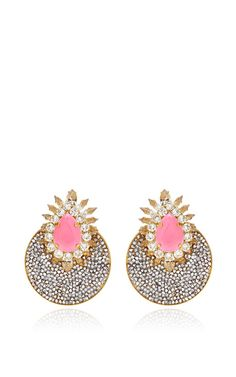 Luna Gold-Plated Crystal Earrings by Shourouk (=)