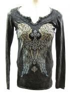 100% distressed cotton in black with fleur de lis and wings designs with crystal accents