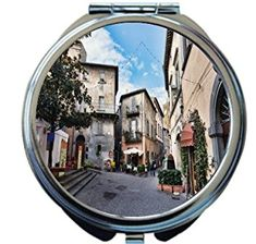 Rikki Knight Italy Narrow Street With Small Shops Design Round Compact Mirror Review