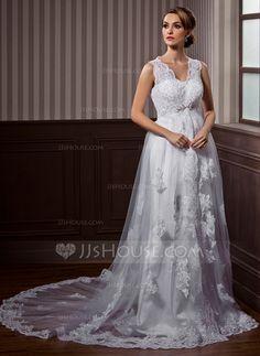 [€ 180.18] A-Linie/Princess-Linie V-Ausschnitt Kapelle-schleppe Tüll Brautkleid mit Spitze Perlen verziert
