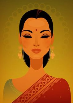 Miss India by Stanley Chow Illustration of Manchester England Art And Illustration, Art Indien, Posca Art, India Art, Vector Portrait, Inspiration Art, Indian Paintings, Indian Artwork, Vector Art