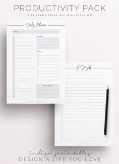 Productivity Planner Productivity Pack by IndigoPrintables on Etsy