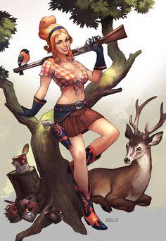 Cool Art: 'Mythology Pinups' Artemis by Simon Eckert