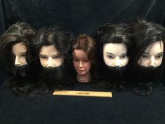 ASSORTMENT OF COSMETOLOGY MANICURE SALON PRACTICE HAIRDRESSING TRAINING HEAD, FOUR DYLAN'S AND ONE GABRIELA