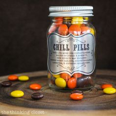 Chill Pills! A great gag gift idea and all you need is a glass jar, some candies, and the FREE printable labels from this Silhouette tutorial via thinkingcloset.com!
