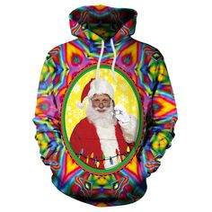 e83a93d3a23487 Santa Claus Colorful Print Women Drawstring Christmas Party Hoodie  #streetfashion #fashionstyle #girlstyle #
