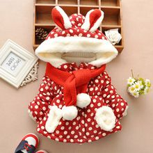 Girls Winter Coats Rabbit Hooded Snowsuit Down Parka Dot Baby Girl & Boy Clothes Christmas Outerwear Jackets 12M-3T Kids Clothes(China (Mainland))