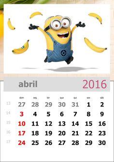 calendário dos minions mês de abril de 2016