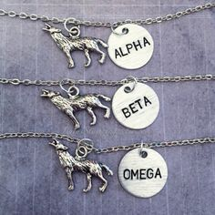 Alpha, Beta, Omega ORIGINAL DESIGN Wolf Necklaces ($24) ❤ liked on Polyvore featuring jewelry, necklaces, wolf jewelry, wolf necklace and beta fashion