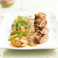 Saltimbocca de veau au Comté, wok de légumes et jus de truffe - Marie Claire Maison