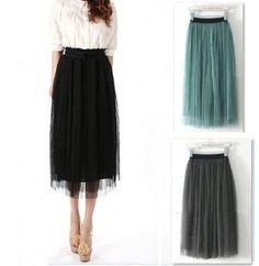 Fashion Women Ladies Elastic Pleated Waistband Mesh Long Skirt Black Grey | eBay