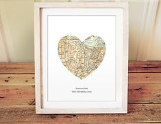 Amsterdam Heart Print, Netherlands Map Print, Heart Map Print, Choose any hometown, Custom Valentines Gift, Valentines Day Print
