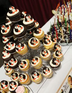 "Penguin Cupcake Tower at Chocolate World Expo by Tony ""The Pastryarch"" Albanese https://www.facebook.com/thepastryarch"
