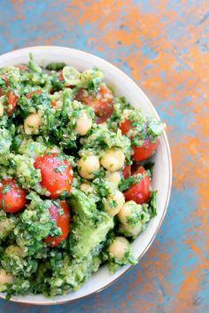 Lemon Quinoa Cilantro Chickpea salad.      http://thediva-dish.com/?s=lemon+quinoa+chickpea+salad+