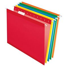 Amazon.com : Pendaflex Reinforced Hanging Folders, Letter Size, Red, 25 per Box (4152 1/5 RED) : Hanging File Folders : Office Products
