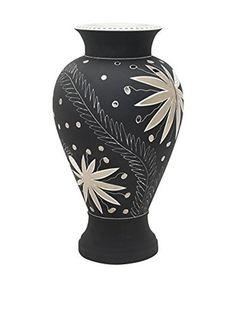 Waylande Gregory Thistle Large Fluted Vase, Grey/Platinum