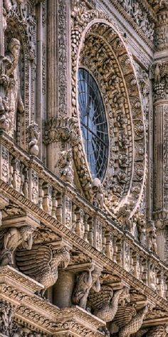 "Basilica di Santa Croce. Lecce, Italy ~ also called the ""Temple of the Italian Glories"" for being the burial site of brilliant Italians, such as Galileo and Michelangelo (among others) 
