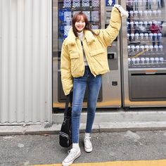 Mock Neck Flap Pocket Puffer Jacket  #koreanfashion #koreanstyle #inspirations #streetfashion #fashion