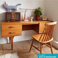 beautiful desks with chair. Teak maybe?