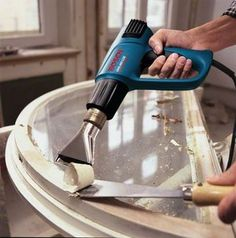 Bosch GHG dual temperature heat gun is portable and well suited for stripping paint, varnishes & plastic welding. Furniture Making, Home Furniture, Bosch Professional, Stripping Paint, Antique Restoration, Diy Home Repair, Woodworking Basics, Air Tools, Diy Garage