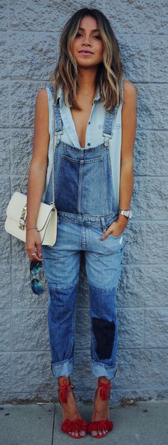 Street Style, April 2015: Julie Sarinana is wearing a Paige Denim patchwork dungarees with a baby blue shirt and red Aquazzara heels http://fancytemplestore.com