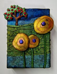 gera scott chandler: Georgia's Apple Tree - polymer clay on canvas - brilliant idea!!