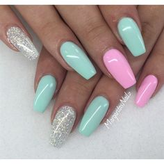 beautiful pink green and silver nails i wish i could have some