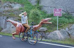 Man Rides Homemade Dinosaur Bike Cross Country