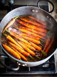 Sweet glazed carrots Sticky, caramelised & delicious These beautifully glazed carrots make the perfect side to any roast dinner. (Image Via > Jamieoliver.com).