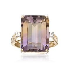 Ross-Simons - 11.00 Carat Ametrine Ring With Diamond Accents in 14kt Yellow Gold - #780776
