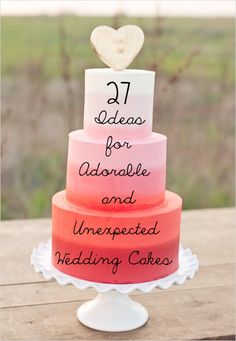 27 Ideas For Adorable And Unexpected Weddingu00a0Cakes    Yes, yes, Especially the embroidery inspired one, and the coral topper.  But the peas have our initials already ;)