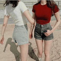 this is exactly the concept that twins stark exhale, fire and ice Lgbt, Mode Ulzzang, Oh Deer, Aesthetic Images, A Team, Couple Goals, Chloe Bennet, Girlfriends, Casual Shorts