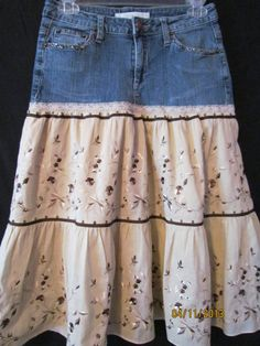 Upcycled Jean Skirt with a Tan Tiered Embroidered Cotton Bottom