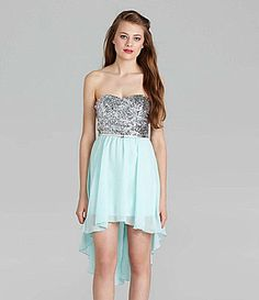 As U Wish Strapless Sequin HiLow Dress #Dillards
