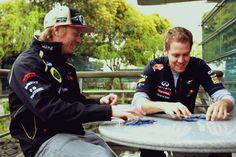"""""""Smile"""" Raikkonen and Vettel"""