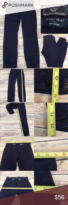 👔Sz 31x29 Zara Man Blue Skinny Tapered Leg Pants Measurements are in photos. Normal wash wear, no flaws. F2/42  I do not comment to my buyers after purchases, due to their privacy. If you would like any reassurance after your purchase that I did receive your order, please feel free to comment on the listing and I will promptly respond.   I ship everyday and I always package safely. Thank you for shopping my closet! Zara Pants Chinos & Khakis