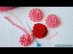 Booties ornament rose making / rose making / knitting rose making / booties ornaments - Flores Crochet Waffle Stitch, Crochet Stitches, Crochet Basics, Crochet Cross, Crochet Baby, Lidia Crochet Tricot, Knitting Patterns, Crochet Patterns, Knitting Tutorials