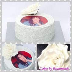 taart met suikerkant met handgemaakte roos van fondant en fotoprint / cake with sugar lace, handmade rose (fondant) and edible photo.