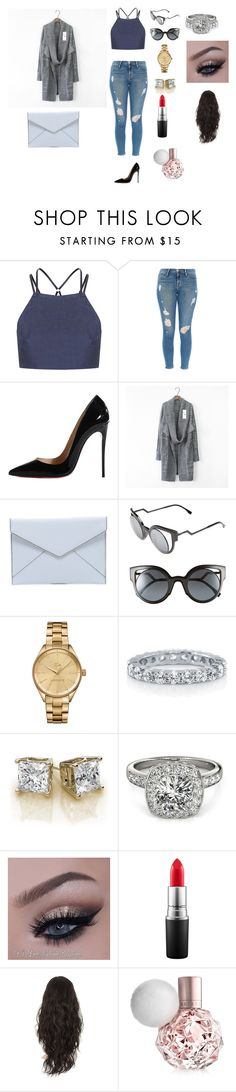 """Manhattan stroll 2"" by keilydelgado on Polyvore featuring Topshop, Frame Denim, Christian Louboutin, Rebecca Minkoff, Fendi, Lacoste, BERRICLE, Allurez and MAC Cosmetics"