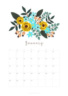 Printable January 2018 Calendar Monthly Planner – Floral Design