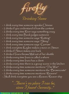 Firefly Drinking Game
