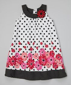 Look what I found on #zulily! White & Black Polka Dot Floral Swing Dress - Infant & Girls #zulilyfinds
