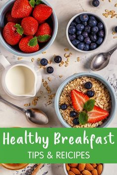 A healthy breakfast can boost metabolism & cognition, prevent overeating & stabilizes blood sugar. Here are tips & meal ideas to make a healthy breakfast. Boost Metabolism, Healthy Breakfast Recipes, Blood Sugar, Recipe Of The Day, Meal Ideas, Acai Bowl, Meals, Tips, Food
