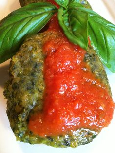 Rich and Sweet: Spinach, Chick Pea and Tarragon Patties topped with Fresh Tomato Sauce.  This is quick and easy and super healthy!  I modified a little and used frozen spinach and sprinkled grated cheese on top. Yummy side dish!