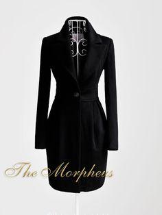 Black Trendy Shoulder Double breasted Woollen Coat