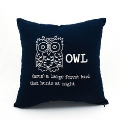 New Item - Free Shipping - Grab It Now!  my #etsy shop Owl Pillow Cover, Navy Blue Linen  White Owl Embroidery, Owl Decor, Bird Pillow, https://etsy.me/2HwWew4 #housewares #pillow #owlpillowcover #navybluelinen #bluelinenpillow #owlembroidery #owldecor #birdpillow