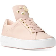 Michael Michael Kors Minday Lace-Up Sneakers ($135) ❤ liked on Polyvore featuring shoes, sneakers, soft pink, lace up shoes, metallic sneakers, lace up sneakers, pink platform sneakers and pink shoes