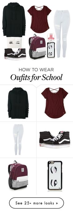 """Back To School Outfit"" by lifestyleduckling on Polyvore featuring Yuiki Shimoji, Topshop, Vans, Victoria's Secret, Hollister Co., Kate Spade and PhunkeeTree"