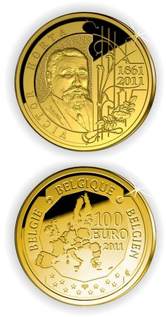 N♡T.100 euro: Victor Horta.Country:Belgium  Mintage year:2011 Face value:100 euro Diameter:29.00 mm Weight:15.55 g Alloy:Gold Quality:Proof Mintage:2,000 pc proof Issue price:760 euro